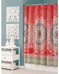 Salmon Colored Shower Curtain Red And Teal Shower Curtain Kess Original Deck The Hollies Red