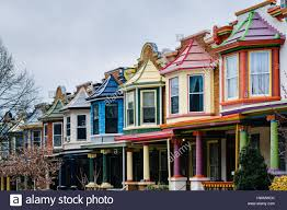 row houses the colorful painted ladies row houses on guilford avenue in