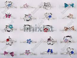 platinum crystal rings images Hot sale 100x child crystal rings platinum plated assorted design jpg
