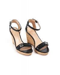 ladies armani jeans black cork wedge sandals at repertoire fashion