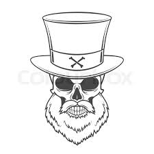 steampunk head hunter skull with beard and high hat vector old
