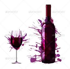 bottle and glass of wine with colorful splashes by blackspring