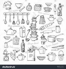 big set kitchen sketch utensils handdrawn stock vector 273562064