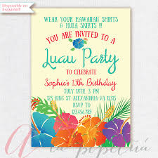luau invitation birthday party hawaiian party invitation