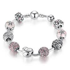 bracelet beads silver images Charms bracelet with silver and crystal beads jpg