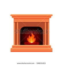 Comfort Flame Fireplace Colorful Vector Fireplace Icon Isolated Cartoon Stock Vector