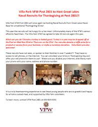 thanksgiving dinner at the vfw for navy recruits villa park