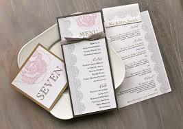 Wedding Invitations With Menu Cards Romantic Wedding Decor Wedding Menu Card Pink And Gray