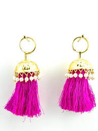 punjabi jhumka earrings flamingo jhumka earrings with faux pearls and hot pink threads