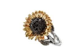 sunflower engagement ring silver black sunflower ring