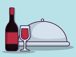 wine bottle platter wine bottle and platter icon vector premium