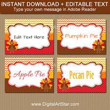printable thanksgiving food tags turkey labels editable