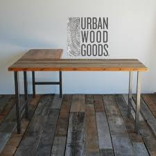 Pipe Desk Extra Thick Pipe Reclaimed Wood Desk Industrial Desk by Farmhouse Office Desk In L Shape Made With Reclaimed Wood And Pipe