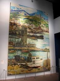 artwork page 2 cool san diego sights charles reiffel san diego harbor 1936 oil on canvas wpa mural inside