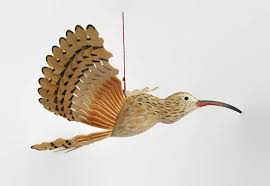 carved bird ornament wood mobile fan carving