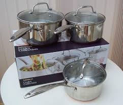 sainsburys kitchen collection sainsbury u0027s cook u0027s collection 3 piece copper bottom pan set