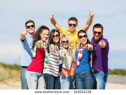 happy friends countryside stock photo 526433170