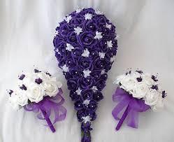 wedding flowers purple wedding flowers brides bouquet 2 bridesmaids posies in purple