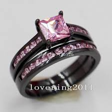 black wedding sets free diamond rings black wedding rings with pink diamonds black