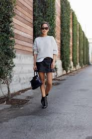 sweater skirt sweater and leather skirt for fall in la song of style