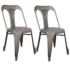 lot de 2 chaises style industriel en métal couleur chrome satiné