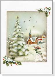 vintage winter church small boxed cards cards