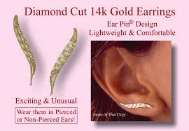 ear pins orogem 14k sparkling design engraved ear pin earrings from gem of