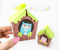 owl house printable gift boxes woodland party favors owl