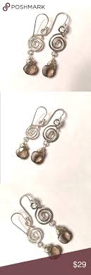 sterling silver earrings sensitive ears quartz spiral karma sterling drop dangle earrings handmade quartz