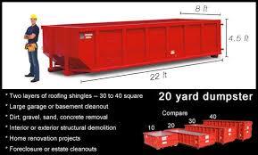 How Many Tons Per Cubic Yard Of Gravel 20 Yard Dumpster Rental Versatile U0026 Affordable Hometown