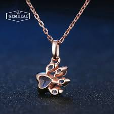 pink pendant necklace images Pink rose quartz cat dog paw pendant necklace gemheal jpg