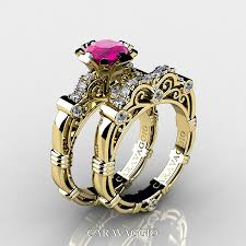 Black And Pink Wedding Rings by Art Masters Caravaggio 14k Yellow Gold 1 0 Ct Pink Sapphire