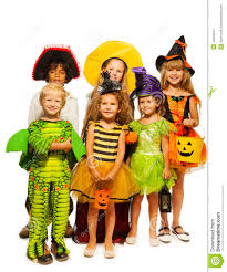 group of kids in costumes isolated on white stock photo image