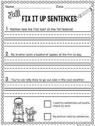 editing sentences second grade capitalization punctuation spelling