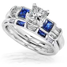 Engagement Wedding Ring Sets by Amazon Com Blue Sapphire U0026 Diamond Wedding Rings Set 1 1 2 Carat