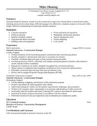 general resume exles general resume exles corol lyfeline co contractor construction