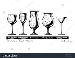 vintage cocktail glasses types stemware wine glass hurricane poco stock vector 674120680