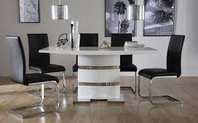 High Gloss Dining Tables  Chairs High Gloss Dining Sets - Black and white dining table with chairs