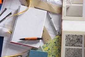 Interior Design Notebook by Architect Desk Designer Workplace Spiral Notebook U2014 Stock Photo