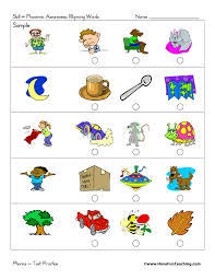 rhyming sounds test practice worksheet primary