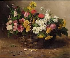 basket of flowers a basket of flowers alfred brunel de neuville painting