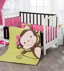 Crib Bedding Monkey New Baby Polka Dot Pink Green Light Monkey Crib Bedding Set