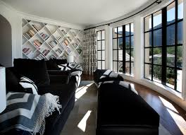 Traditional Family Rooms by Decoration Traditional Family Room With Cozy Black Sofa And White