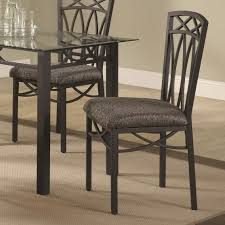 chair an elegant black metal dining room with glass top round