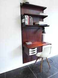 Wall Mounted Desk System Rosewood Wall Mounted Shelving Unit With Desk By Kai Kristiansen