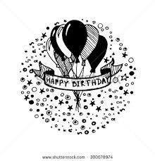 Doodle Birthday Card Hand Drawn Doodle Birthday Card Balloons Stock Vector 300078974