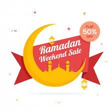 holy month ramadan weekend sale ribbon design creative big