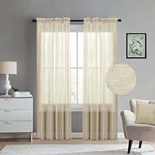 natural linen l shade amazon com turquoize natural linen blended textured sheer curtains