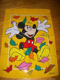 Fall Garden Flag Disney Mickey Mouse Garden Flag Yard Decor Fall Autumn Leaf Disney