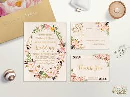 pink and gold wedding invitations floral wedding invitation printable bohemian wedding